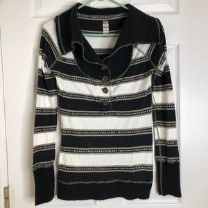 Free People Black & White Striped Sweater Sz Small